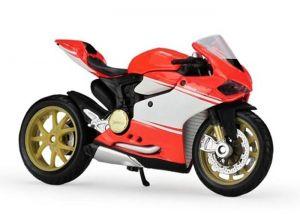 Maisto  motorka bez podstavce  - Ducati 1199  Superleggera 2014  1:18 oranžovo  bílá