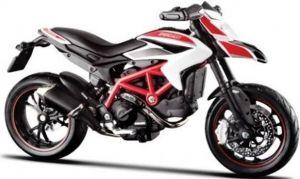 Maisto motorka bez podstavce - Ducati Hypermotard SP 1:18 bílo červená Miasto