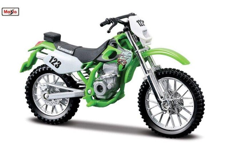 Maisto motorka bez podstavce - Kawasaki KLX 250SR 1:18 zelená Miasto