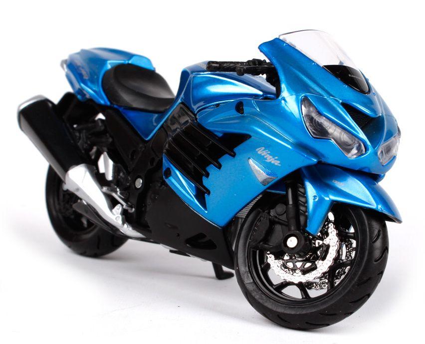 Maisto motorka bez podstavce - Kawasaki Ninja ZX-14R 1:18 modrá Miasto