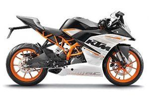 Maisto  motorka bez podstavce  - KTM RC 390  1:18 černo bílá