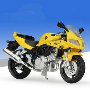Maisto  motorka bez podstavce  - Suzuki  SV650   1:18  žlutá