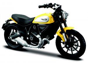 Maisto  motorka na stojánku - Ducati Scrambler 1:18  žlutá