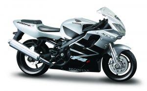 Maisto  motorka na stojánku - Honda CBR 600F4i  1:18 stříbrná