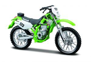 Maisto  motorka na stojánku - Kawasaki  KLX  250SR  1:18 zelená