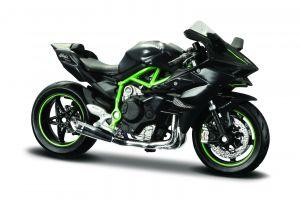 Maisto  motorka na stojánku - Kawasaki  Ninja H2 R  1:18 černo zelená