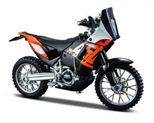 Maisto  motorka na stojánku - KTM 450 Rally  1:18 oranžová