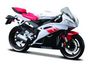 Maisto  motorka na stojánku -  Yanaha YZF R6 1:18 červeno bílá