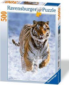 puzzle Ravensburger  500 dílků - tygr ve sněhu -  144754