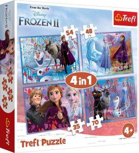 puzzle Trefl 35, 48, 54 a 70  dílků -  4v1  Frozen II -  34323