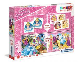 Super Kit  - hry  Clementoni 4v1 ( 2x  puzzle , domino , pexeso ) Princezny  20208