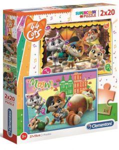 Clementoni  puzzle  2x20 dílků  - 44 koček  -   24758