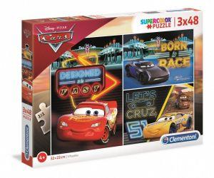 Dětské puzzle Clementoni  - 3 x 48 dílků  -  Cars   25235