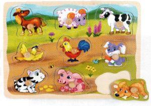 Dřevěná vkládačka s úchyty - Domácí zvířata   30 x 22  cm   9 dílků