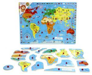 Dřevěná vkládačka s úchyty - Mapa světa  40 x 30  cm   16 dílků