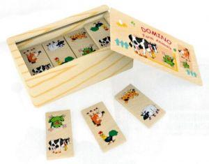 Dřevěné domino v dřevěné krabičce - domácí zvířátka