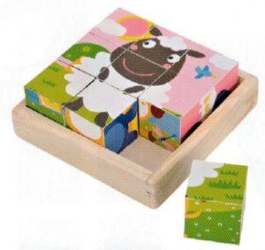 Dřevěné obrázkové  kostky - Ovečka  - 9 ks kubus  v dřevěné polokrabičce