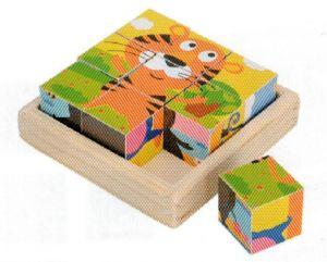 Dřevěné obrázkové  kostky - Tygřík  - 9 ks kubus  v dřevěné polokrabičce