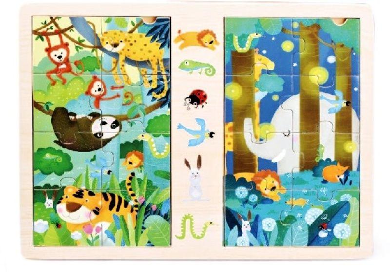 Dřevěné puzzle 2 x 8 dílků 30 x 22 cm - Džungle Playme - Brimarex