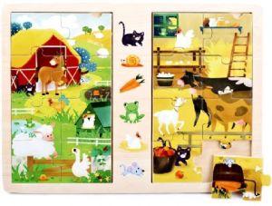 Dřevěné puzzle  2 x 8 dílků  30 x 22 cm  - Na vesnici