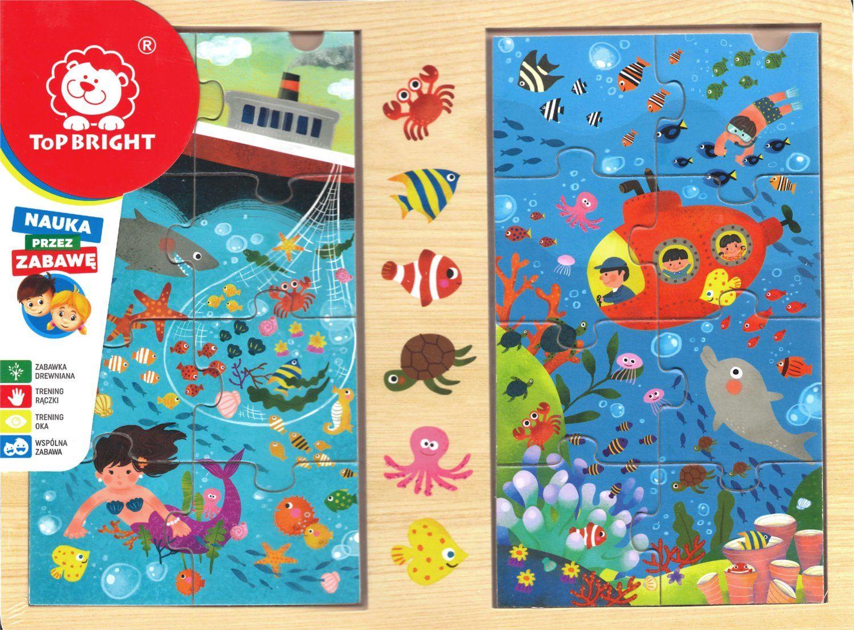 Dřevěné puzzle 2 x 8 dílků 30 x 22 cm - Oceán Playme - Brimarex