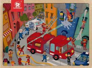 Dřěvěné puzzle Brimarex - Top Bright  - 24 dílků - hasiči   30 x 22 cm