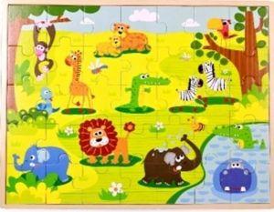 Dřěvěné puzzle Brimarex - Top Bright  - 35 dílků - safari   42 x 34 cm