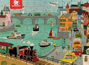 Dřěvěné puzzle Brimarex - Top Bright 100 dílků  - přístav   40 x 30 cm