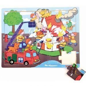 Dřěvěné puzzle Brimarex - Top Bright  - 20 dílků - hasiči   30 x 22 cm