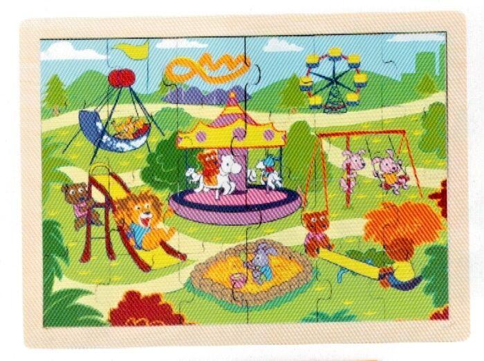 Dřěvěné puzzle Brimarex - Top Bright - 20 dílků - hřiště 30 x 22 cm Playme - Brimarex