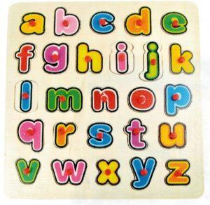 Dřěvěné puzzle Brimarex - Top Bright  - 26 dílků - malá  písmena    30 x 30 cm