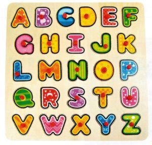 Dřěvěné puzzle Brimarex - Top Bright  - 26 dílků - velká písmena    30 x 30 cm