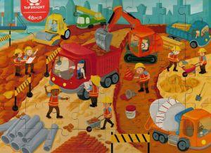 Dřěvěné puzzle Brimarex - Top Bright  - 48 dílků - na stavbě    40 x 30 cm