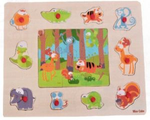 Dřěvěné puzzle + vkládačka Brimarex - Top Bright  - 2 v 1  V lese    30 x 22 cm