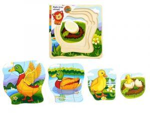 Dřevěné  vrstvové puzzle - kachnička   ( 4 vrstvy )
