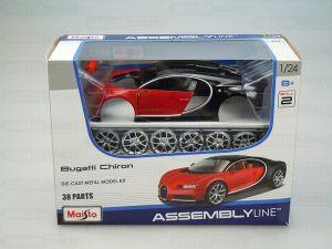 Maisto 1:24 Kit Bugatti Chiron - model ke skládání - červeno černá barva