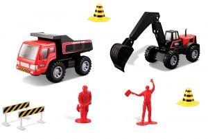 Maisto  22326 - Sada stavební silniční práce - červená  sada