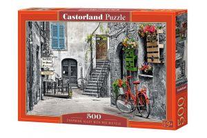 Puzzle Castorland 500 dílků - Ulička s červeným kolem  53339