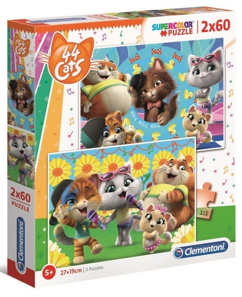 Puzzle Clementoni 2 x 60 dílků - 44 koček 21607