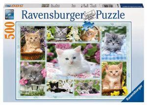 puzzle Ravensburger  500 dílků - kotě v košíku  -  141908