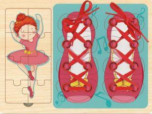 Top Bright - 3v1 - puzzle, vkládačka a šněrování -  baletka