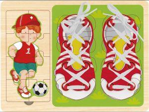 Top Bright - 3v1 - puzzle, vkládačka a šněrování -  fotbalista