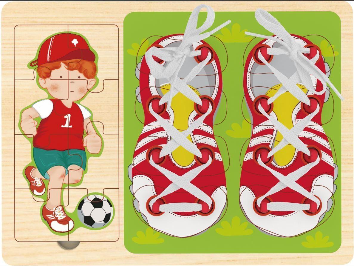 Top Bright - 3v1 - puzzle, vkládačka a šněrování - fotbalista Playme - Brimarex