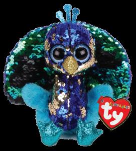 TY Beanie Boos Flippables - Tyson - modrý páv   36349 -  15 cm plyšák