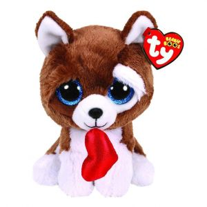 TY Beanie Boos - Smootches - hnědo-bílý pejsek  se srdíčkem    36663 - 24 cm plyšák