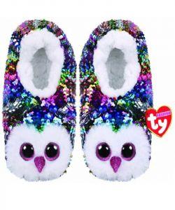 TY plyšové papuče  s flitry  -  sova Owen  - vel.L   95563