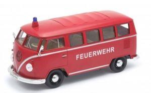 Auto Welly 1:24   Volkswagen T1  1963   červená barva - hasičský