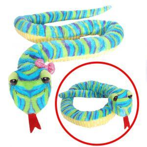 BEPPE - plyšový had  142  cm  -  žluto modrý  13376
