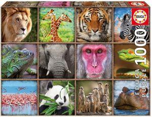 EDUCA Puzzle 1000 dílků -  Divoká zvířata - koláž  17656