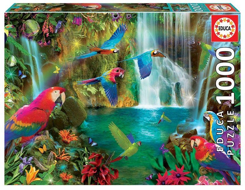 EDUCA Puzzle 1000 dílků - Papoušci v tropech 18457